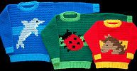 Crochet Child Sweaters Dolphin Ladybug and Horse