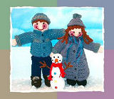 Jeremy & Julie Dolls in Snowy Day Outfits and Snowman