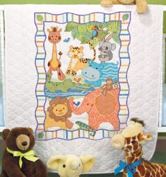 Mod Zoo Stamped Quilt Kit