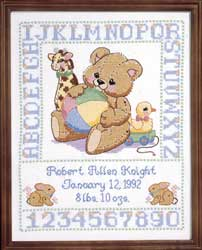 Stitchworks Airplane Birth Sampler - Cross Stitch Pattern
