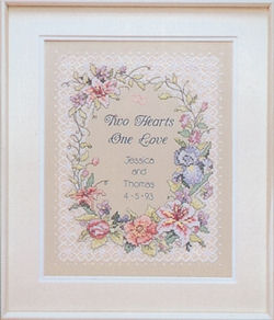 Two Hearts Wedding Stamped Cross Sch Kit