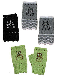 Knit Beaded Texting Mitts
