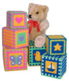 Plastic Canvas Bright Baby Gingham Stacking Blocks