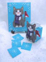 Plastic Canvas Snow Kitty Winter Decor