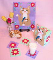 Plastic Canvas Spring Kitty Home Decor